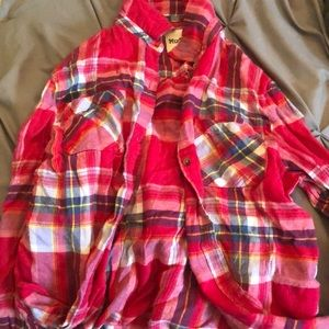red juniors button up flannel